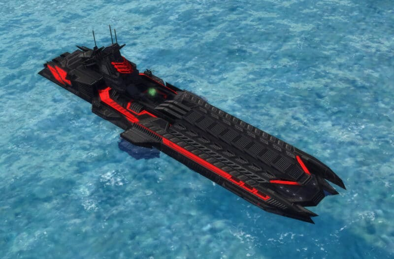 The Command Class Aircraft Carrier, Cybran Tech 3 Navy Unit in Supreme Commander.