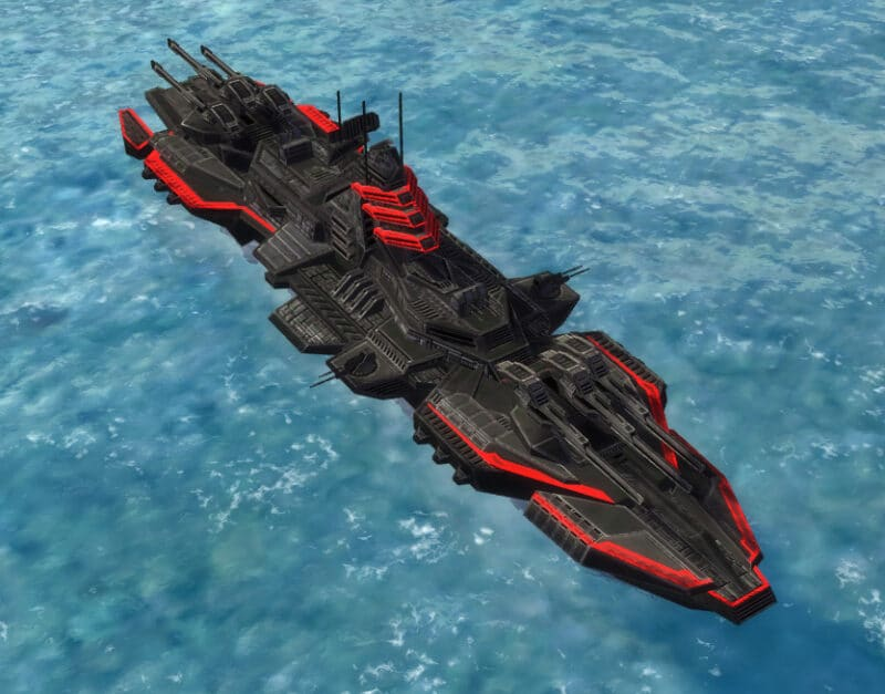 The Galaxy Class Battleship, Cybran Tech 3 Navy Unit in Supreme Commander.