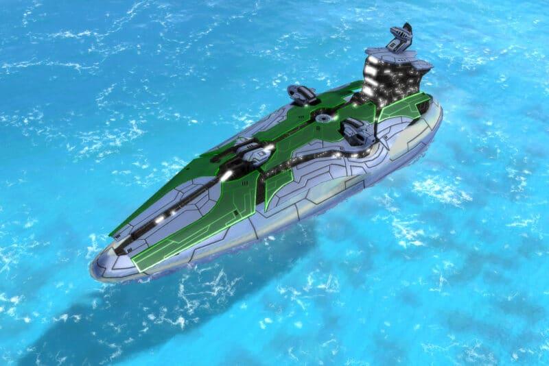 The Infinity Class Cruiser, Aeon Tech 2 Naval Unit in Supreme Commander.