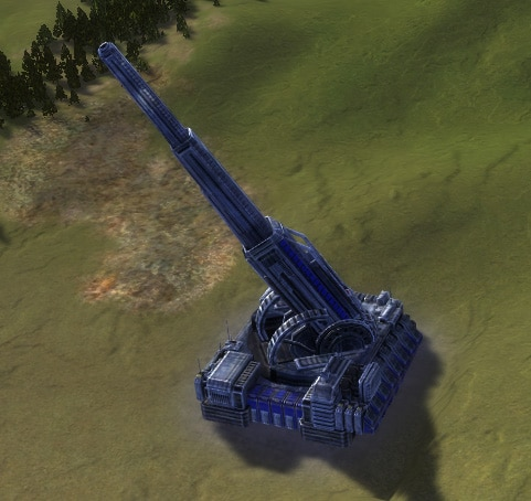 The Mavor Strategic Artillery, in it's deployed fire-mode, UEF Experimental Unit in Supreme Commander.