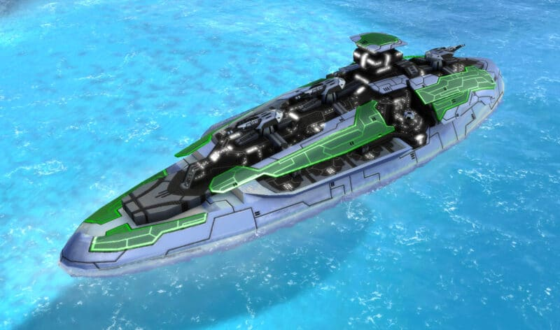 The Omen Class Battleship, Aeon Tech 3 Naval Unit in Supreme Commander.