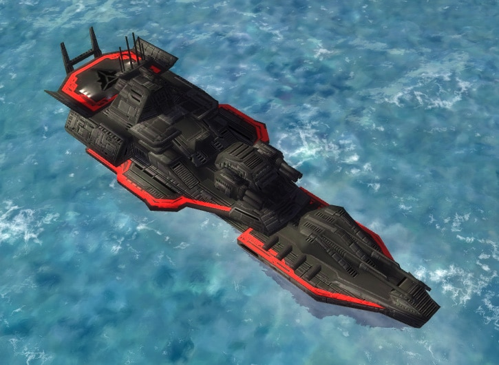 The Siren Class Cruiser, Cybran Tech 1 Navy Unit in Supreme Commander.