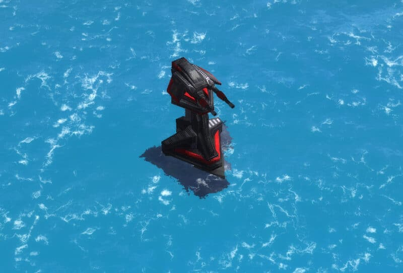 The Amphibious version of the Tracer Anti-Air Turret, Cybran Tech 1 Defensive Building in Supreme Commander.