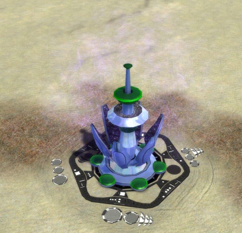 The Veil Stealth Field Generator, Aeon Tech 2 Defensive Building in Supreme Commander.
